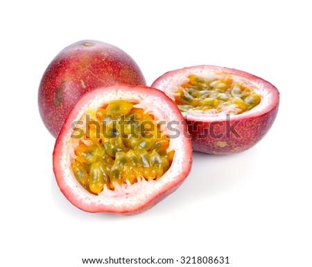 Passion fruit isolated on white background. - stock photo