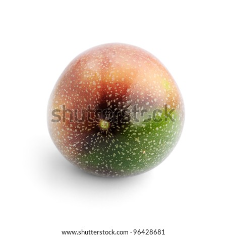 Passion fruit isolated on white background, selective focus. - stock photo
