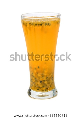 Passion fruit juice in glass with wooden spoon on sack background.