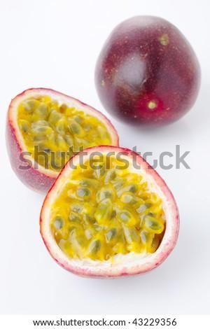 passion fruit on white - stock photo