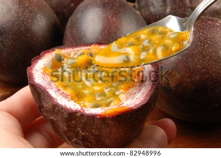 passion fruit pulp with spoon
