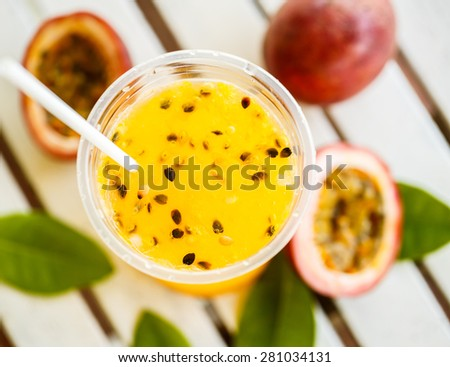 Passion fruit smoothie by fresh ingredients - stock photo