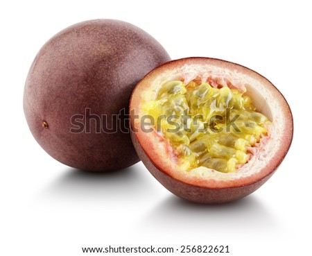 Passion fruit with cut half isolated on white with clipping path - stock photo