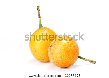 Passion fruits on white