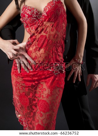 passion latin dancers over grey background - stock photo