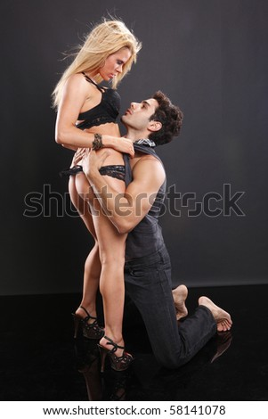 Passionate couple show their affection - stock photo