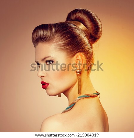 Passionate fashion model with retro hairdo and beautiful red lips - stock photo