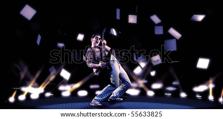 passionate guitar player playing electric guitar - 3d generated background with noise - stock photo