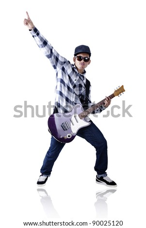 Passionate guitarist with sunglasses and hat isolated on white - stock photo
