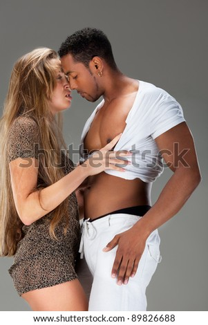 Passionate kiss. - stock photo