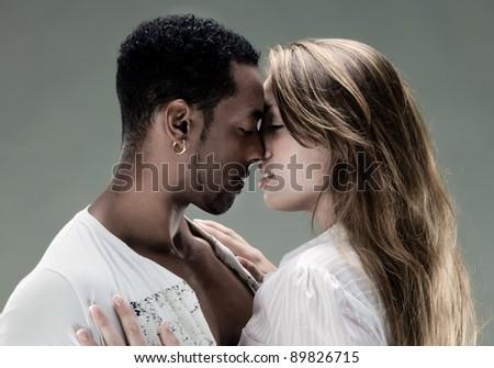 Passionate kiss. Vintage photo. - stock photo