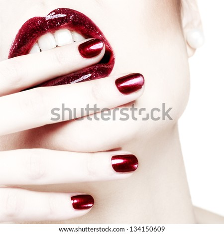 Passionate red shiny lips - stock photo
