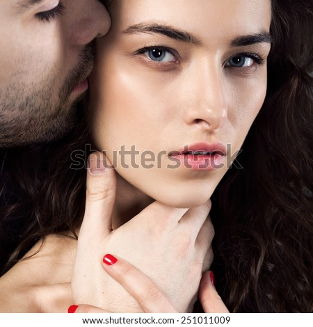Passionate sensual attractive young couple in love - stock photo
