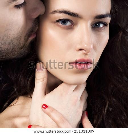 Passionate sensual attractive young couple in love - stock photo