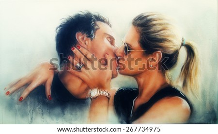 Passionate valentine love kiss of a young romantic couple, painting on paper, profile portrait  - stock photo