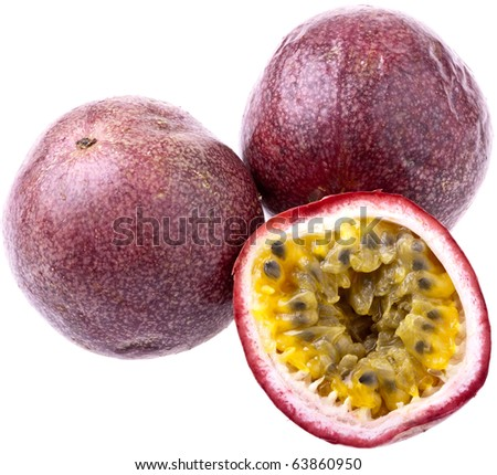 Passionfruit, completely isolated on white - stock photo