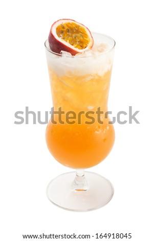 passionfruit mocktail isolated on white. - stock photo