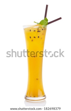 passionfruit mocktail isolated on white. - stock photo
