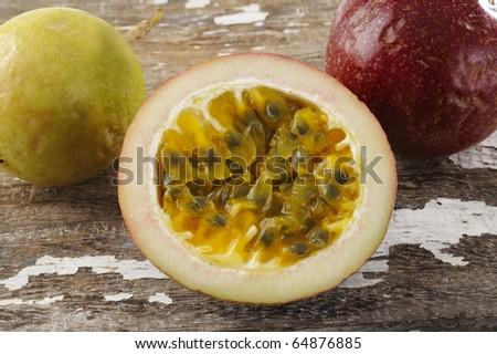 passionfruit on wood - stock photo