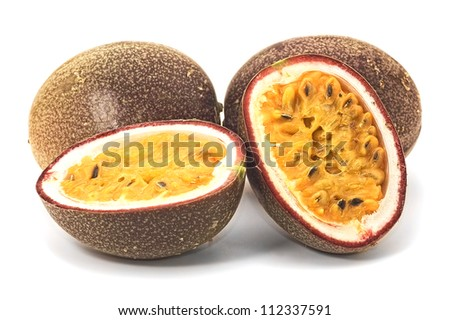 Passionfruits with pulp , isolated on white background - stock photo