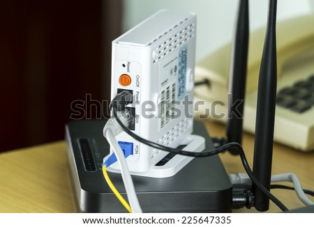 Passive optical network with Wifi of end user fiber optic or call Fiber to the home - stock photo