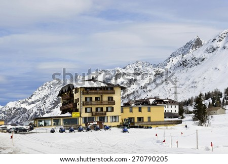 PASSO DEL TONALE, ITALY - APRIL 3: Ski resort Passo Tonale on April 3, 2015.  Tonale Pass is a high mountain pass in northern Italy across the Rhaetian Alps, between Lombardy and Trentino.