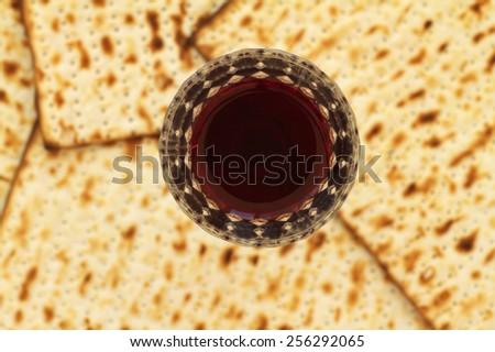 Passover matza with red wine - stock photo