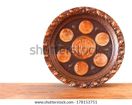 passover plate isolated - stock photo