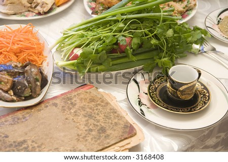 Passover seder - Bukharian (central asian) jewish - stock photo
