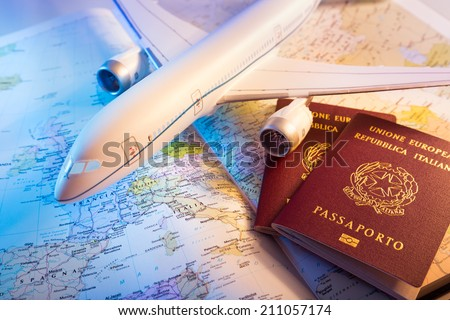 passport, airplane and topography map of Europe