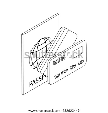 Passport and bank cards icon, isometric 3d style - stock photo