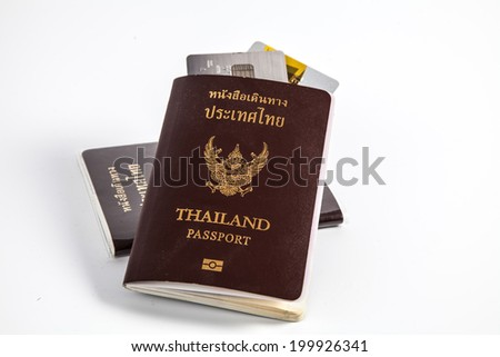 Passport and credit card ready to travel - stock photo