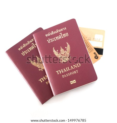 Passport and Credit Cards on white background