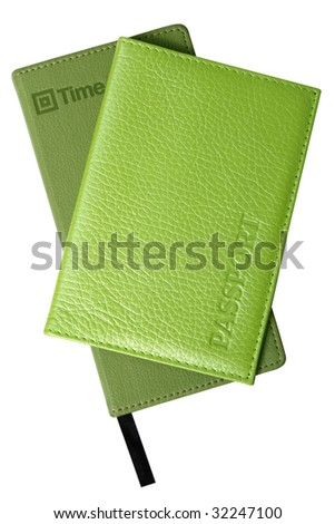 Passport and diary. Accessories of modern woman. Isolated on white - stock photo