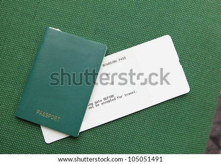 Passport and ticket (empty copy space) concept of travel and vacation - stock photo