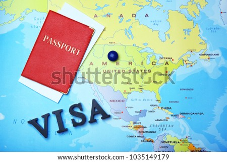 Passport and word VISA on map