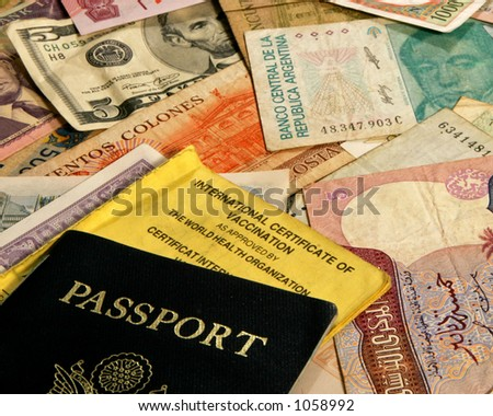 Passport and world money - stock photo