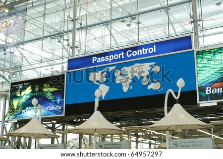 Passport Control at the Suvarnabhumi airport, Thailand - stock photo
