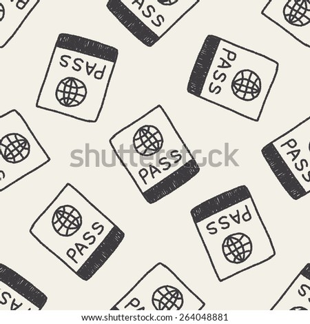 passport doodle drawing seamless pattern background