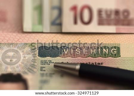 Passport  EU visa ans euro background. - stock photo