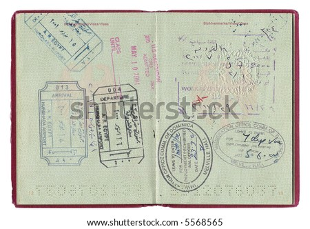 Passport immigration stamps from different countries - stock photo