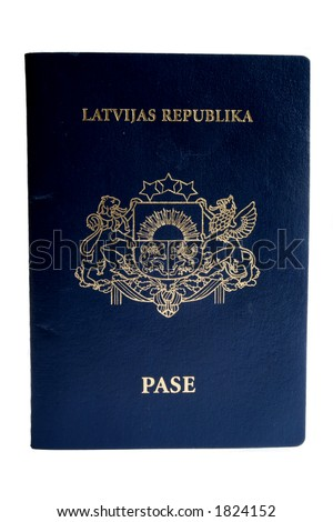Passport isolated on white (Republic of Latvia)