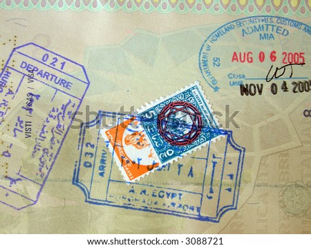 Passport page, USA and Egypt stamps - stock photo