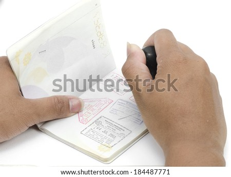 passport pages and immigration stamp - stock photo