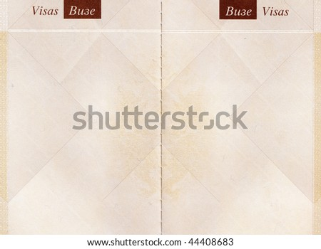 Passport pages. Open blank passport pages, top view - stock photo