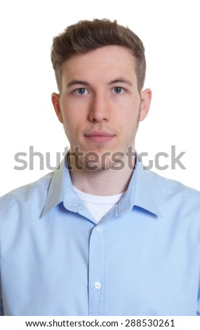 Passport picture of a cool guy in a blue shirt - stock photo