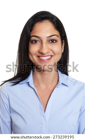 Passport picture of a laughing turkish businesswoman - stock photo