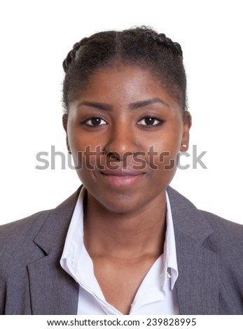 Passport picture of a smiling african businesswoman - stock photo