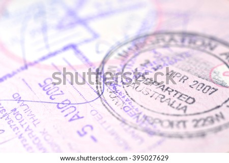 Passport stamp background (Selective focus) - stock photo