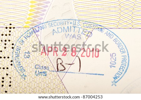 passport stamp of the american homeland security - stock photo